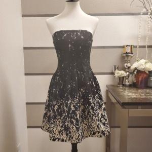H&M Black and Cream Pleated Dress